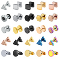 Круглые серьги-гвоздики ZS в стиле панк для мужчин и женщин, ювелирные изделия унисекс, в виде рок-рулона, цвет: золото, серебро