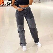Cinza retalhos reta mãe jeans mulher bolsos de cintura alta namorado clássico streetwear y2k calças pretas 90s solto denim iamhotty