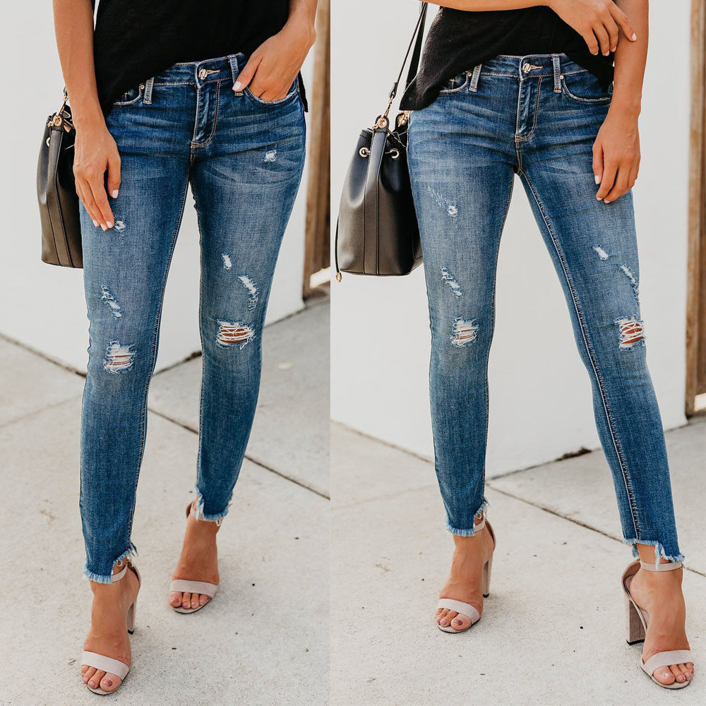 Newest Hot Women Plus Size Stretch Ripped Distressed Skinny High Waist Denim Pants Shredded Jeans Trousers