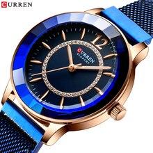 CURREN Royal Blue Ladies Ins Quartz Dress Watch Rhinestone Starry Slim Analog Mesh Steel Band Wristwatch Clock Relogios Feminino