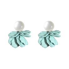 DREJEW Blue Green Pink White Flower Pearl Alloy Statement Dangle Earrings 2019 925 Drop for Women Fashion Jewelry E1951