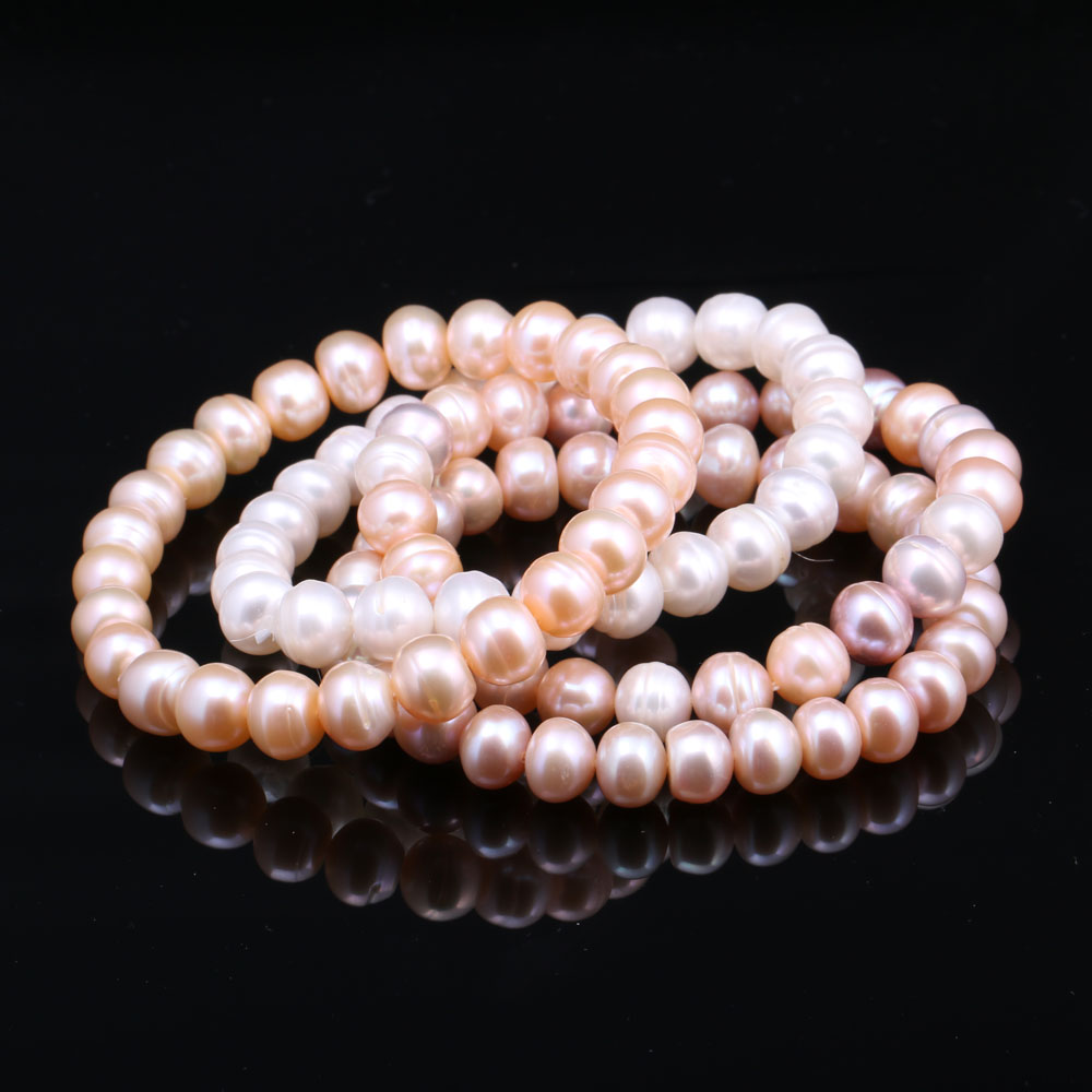 Genuine Natural Freshwater Pearl Bracelets Bangles For Women Classic 8-9mm White/Pink/Purple Pearls Beads Bracelet Jewelry Gift