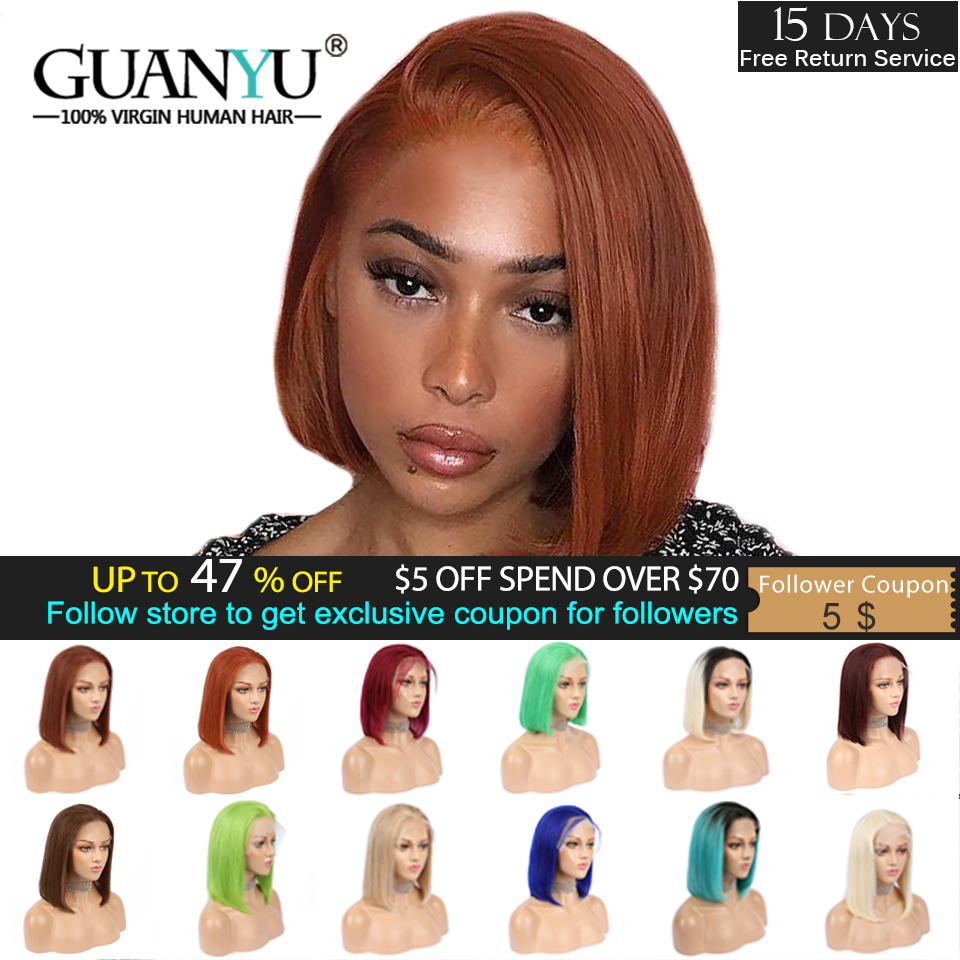 Orange Ginger Lace Front Human Hair Wig Indian Remy Ombre Red 99J Honey Blonde Brown Short Straight Bob Cut Blunt Pixie Wig 13x4