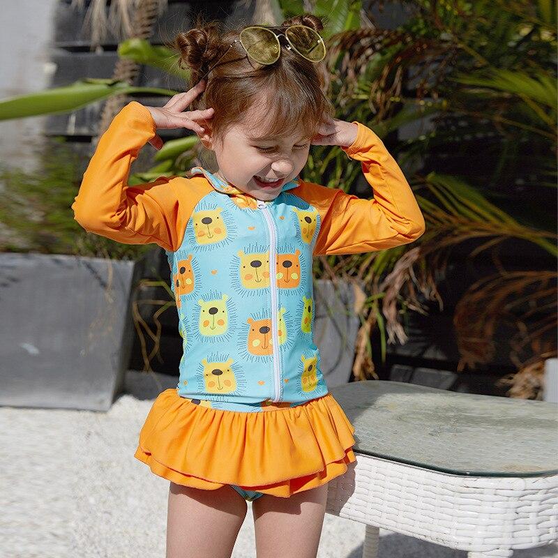 2019 New Style Hot Sales KID'S Swimwear One-piece Two-Piece Set Long Sleeve Short Skirt Sun-resistant Tutu Printed GIRL'S Swimsu
