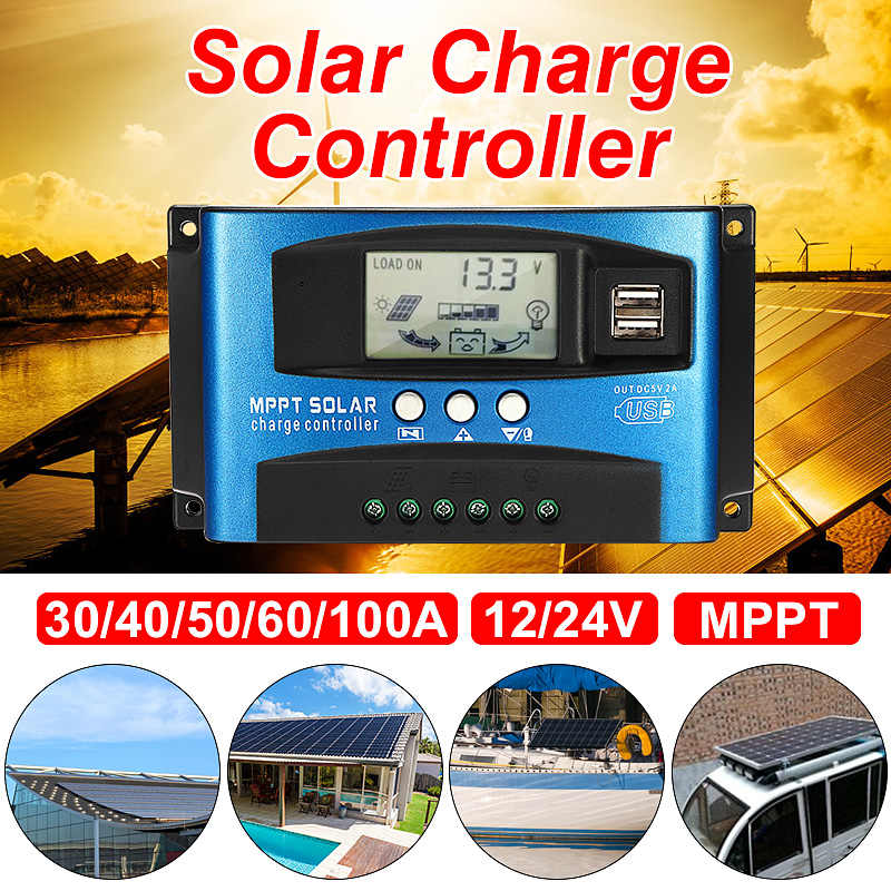 MPPT 30/40/50/60/100A controlador de carga Solar Dual USB pantalla LCD 12V 24V Auto célula Solar del regulador del cargador del Panel con la carga