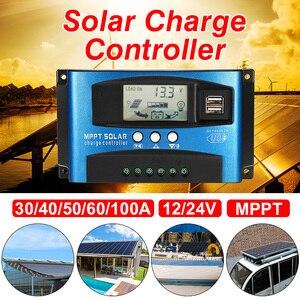Image 2 - Mppt 30/40/50/60/100Aソーラー充電コントローラデュアルusb液晶ディスプレイ12v 24 24vオート太陽電池パネル充電器レギュレータ負荷