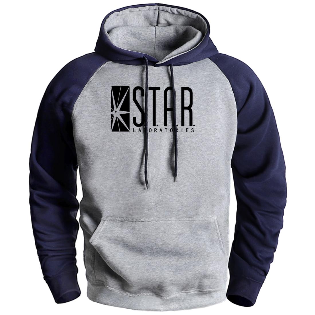 Male Tops Star Labs Print Sweatshirts Man Fleece Raglan Hoodies Pullover S.T.A.R Men Hip Hop Pullover Hooded Causal Sportswear
