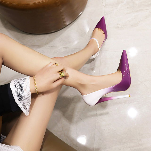 16 cm contrast color sexy high-heeled shoes with buckle point wedding banquet fashion shoes