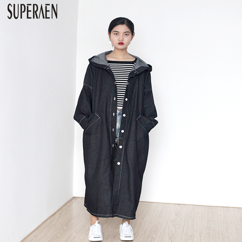 SuperAen Autumn 2019 New Korean Style Denim   Trench   Coat for Women Hooded Loose Pluz Size Windbreaker Female Solid Color Coats