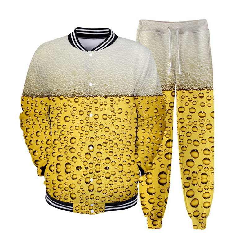 OEAK Мужская пивная Праздничная куртка Повседневная 3D подставка для печати воротник бейсбольная куртка для мужчин 3D цифровая печать Повседневная спортивная форма
