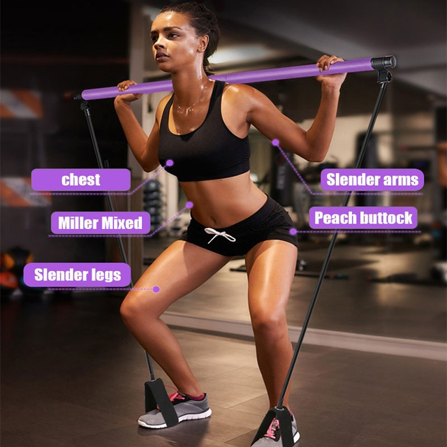 Yoga Pilates Stick with Resistance Bands Muscle Stretch Pull Rope Home Gym Fitness Bar Sports Workout Exercise Elastic Bands 2