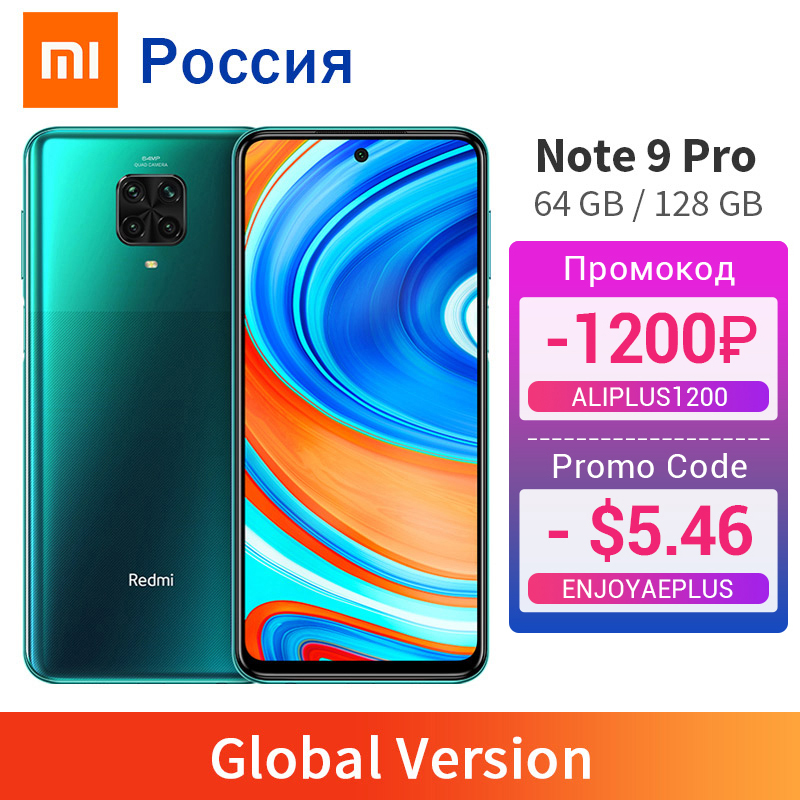 Versão global redmi nota 9 pro 6gb 128gb/64gb nfc celular 64mp quad camera snapdragon 720g 33w carregador rápido 2400x1080
