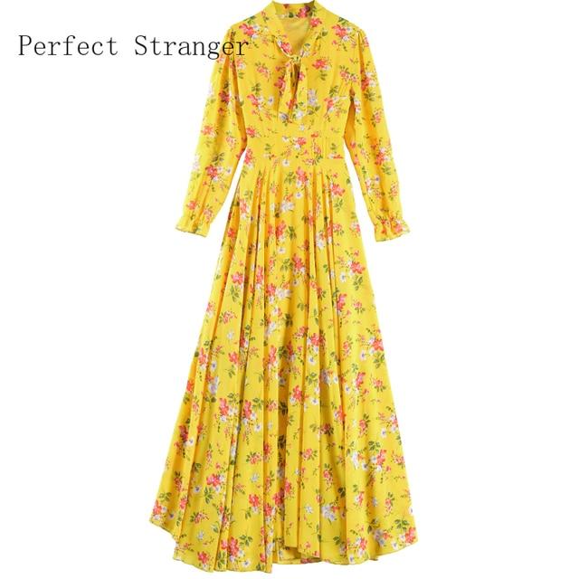 2020 Autumn  New Arrival High Quality Plus Size S-4XL Bow Collar Flower Printed Long Sleeve Women Long Chiffon Dress 6