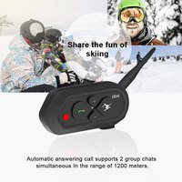 2019 Professional Skiing Intercom Full Duplex Helmet Bluetooth Headset Intercommunicador for 2 Ski Fanciers AUX IP65 MP3