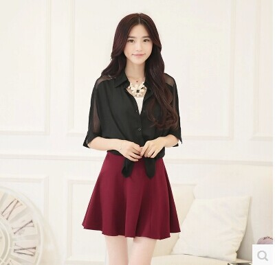 2015 Spring Korean-style WOMEN'S Wear New Style Thousands Of Birds Sub-Base Knitted Short Skirt Pleated High-waisted Puffy Skirt