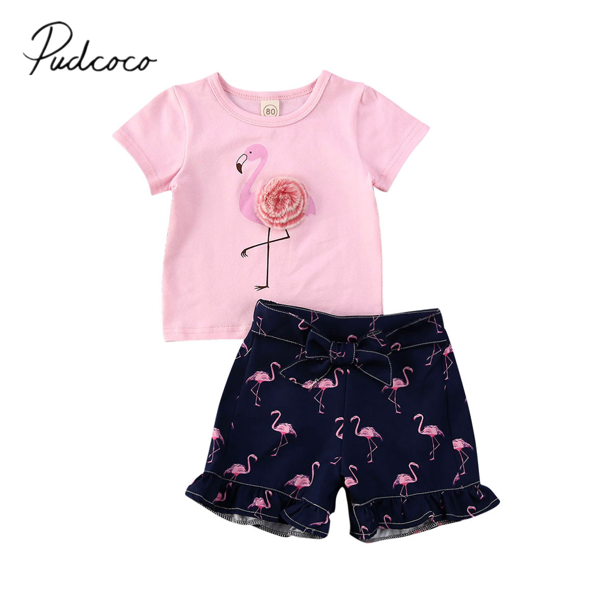 2pcs Toddler Baby Girl Cartoon Duck Tops Bow Letter Pant Trousers Outfit Clothes
