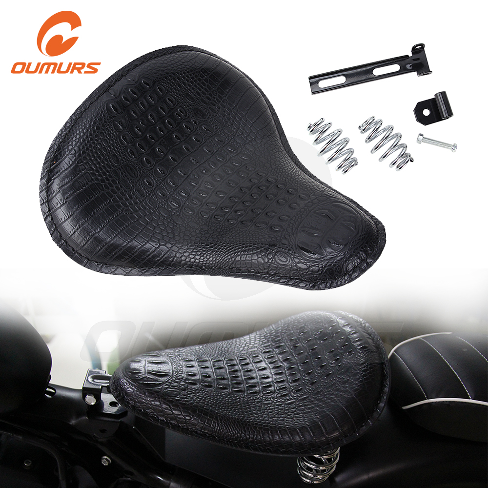 OUMURS Motorcycle Solo Seat With 3″ Spring Bracket Leather Alligato Seats Black For Harley Sportster Chopper Bobber Custom Moto