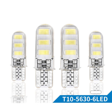 10PCs Silicone T10 Waterproof DC 12V 150LM W5W 5730 6 SMD Car Styling Wedge License Plate Side Turn Signal Light Accessories