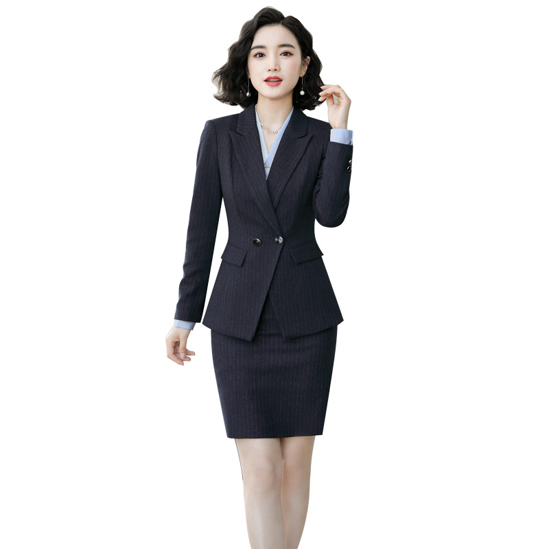 Stripe Skirt Suit Professional Suit Office Lady Suit Uniform 2019  Full Sleeve Jacket Skirt Trousers Formal Work Clothes 966