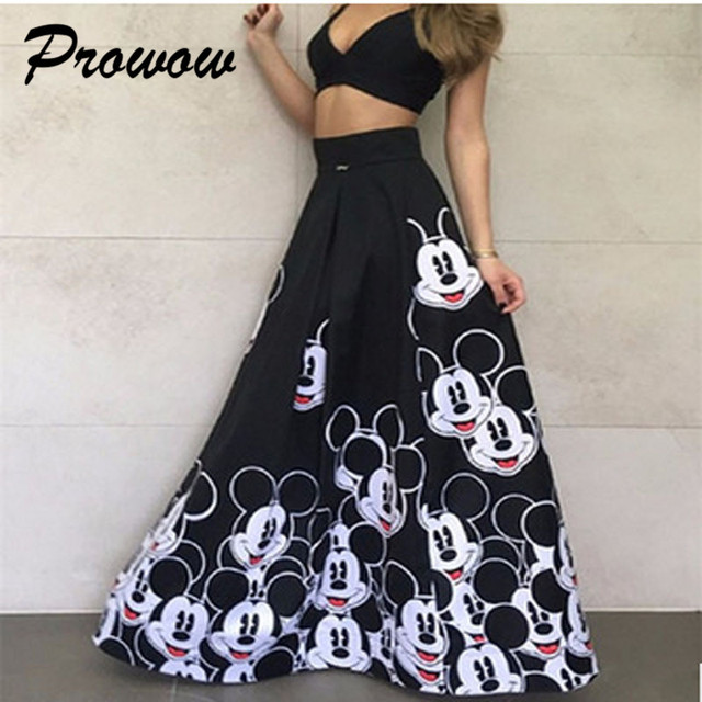 Plus Size Mickey Long Skirt Women Elegant Elastic High Waist Cartoon Casual Women Pleated skirt Ladies skirt Women Streetwear 2