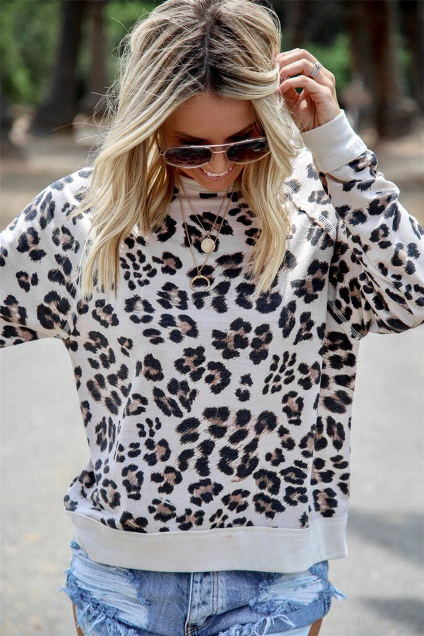 Leopard Sweatshirts Women Long Sleeve Top Autumn Hoodies 2019 Fashion Print Sweatshirts Women O-neck Pullovers Female Sweatshirt