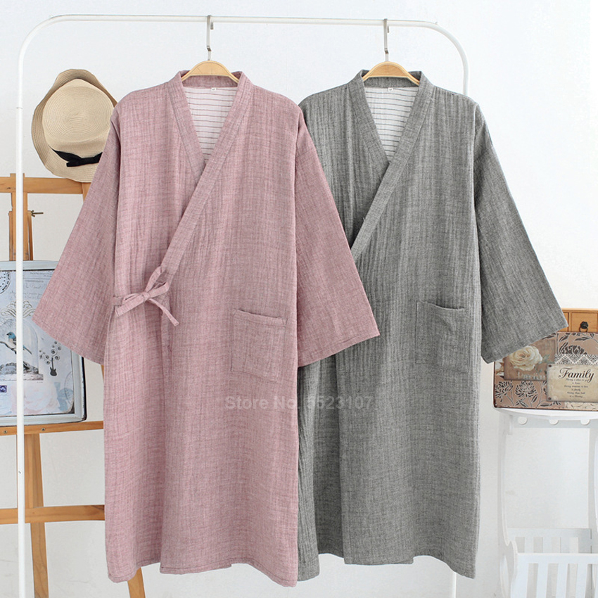 Japanese Style Samurai Men Sleepwear Kimono Yukata Bathrobe Pajamas Breathable Comfy Lounge V-neck Loose Long Nightgown