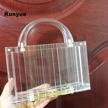 20New trendy handbag fashion party prom transparent acrylic evening bags luxury bridal box clear clutch purse elegant chic totes