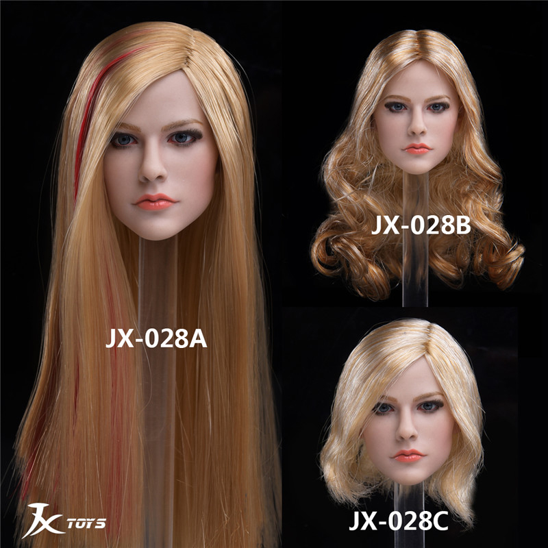 """1/6 JXTOYS-028 Woman Girl Sexy European American Beauty Lady Singer Avril Head Sculpt Carved for 12""""Action Figure Body Doll mode"""