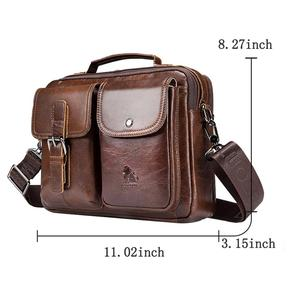 Image 5 - Men Business Briefcase Vintage Genuine Leather Laptop Messenger Bag Cowhide Big Capacity Tote Office Handbag Men Briefcase