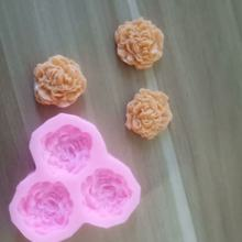 3D Rose Silicone Mold 3-hole pink flower cake Candy Chocolate Soap pastry molds Decorating baking tools kitchen Gadgets dropship