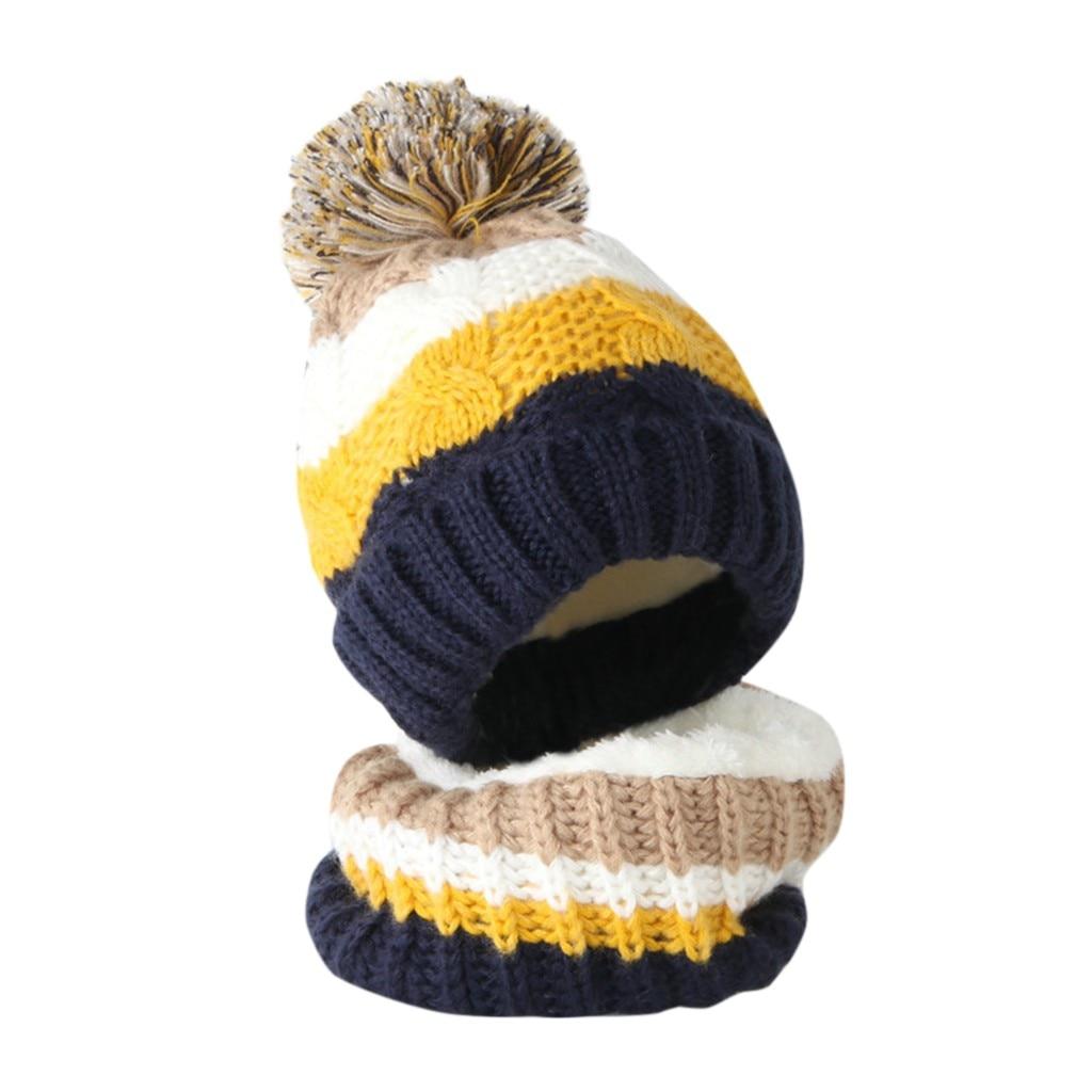 Inverno crianças chapéu cachecol define menina menino pompon chapéu e snood para meninas meninos queda de malha chapéu terno conjunto menina 2 peça conjunto bebê|Cachecol|   -