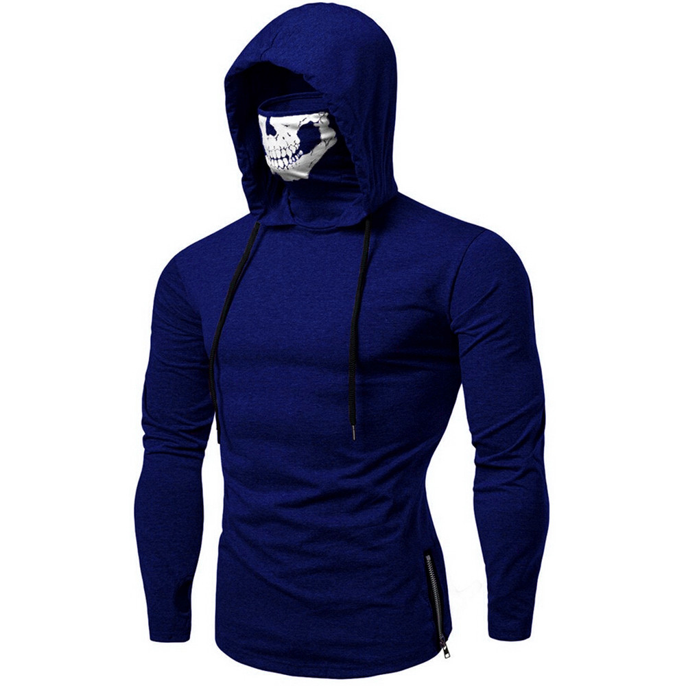YOUYEDIAN Mens Clothes Hoodies Mask Skull Pure Color Pullover Long Sleeve Hooded Sweatshirt Tops Blouse Sudadera Harajuku