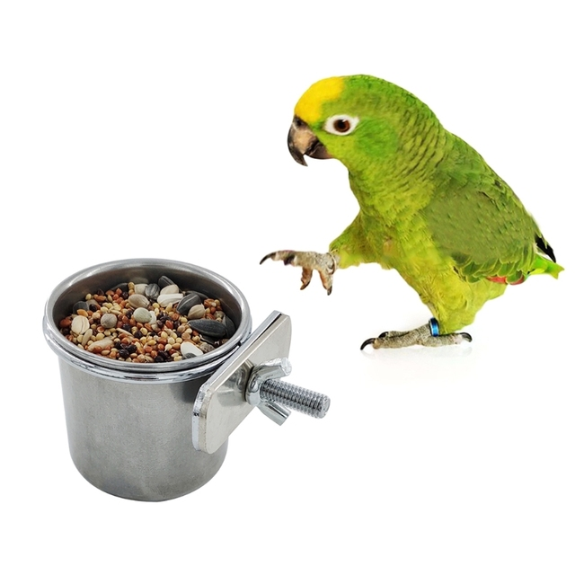 Hanging Stainless Steel Cage Feeding & Watering Bowls For Parakeets -Lovebirds -Finches - Parrots 4