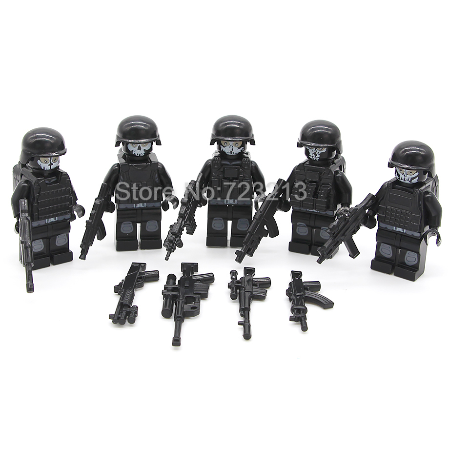 5pcs/lot SWAT Ghost Soldier Military Figure Set Weapon Gun Building Blocks Models Bricks Educational Toys For Children Legoing