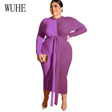WUHE Casual Patchwork Large Size 4XL 5XL Bodycon Dress Elegant Lace-up O Neck Bandage Maxi Women Clothing Vestidos Femme