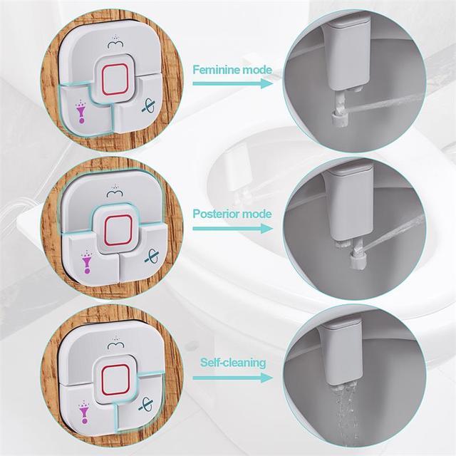 Samodra Toilet Bidet Toilet Seat Attachment Ultra-thin Non-electric Dual Nozzles Frontal & Rear Wash Ass Sprayer for Bathroom 4