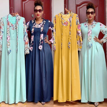 MD Evening Dresses For Women Plus Size African Print Maxi Dress Muslim Fashion Abaya Boho Gown 2021 Spring Summer Lady Clothing