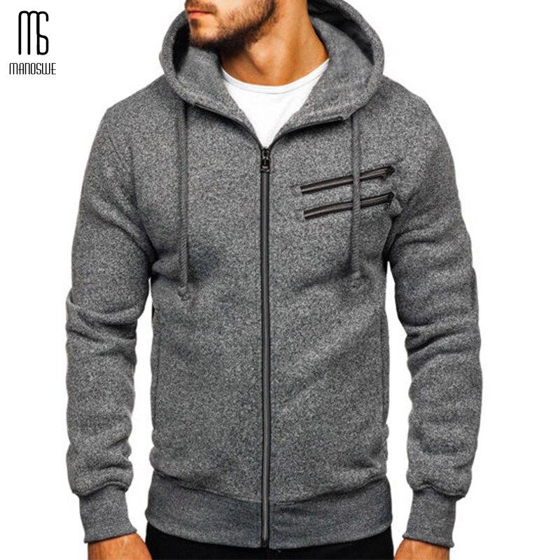 Manoswe Hoodies Sweatshirt 2019 Casual Fashion Mens Slim Streetwear Sportswear Winter Fleece Hoody Solid Color Jackets Clothing
