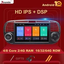 Reprodutor de dvd do carro do andróide 10 .0 do núcleo 1 do ruído do dsp 4gb 64gb 8 do ips para a unidade principal audio estereofônica da navegação dos multimédios de rádio de fiat 500 gps