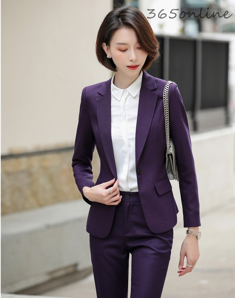 High Quality Fabric Women Business Suits Formal Uniform Designs Pantsuits Autumn Winter Ladies OL Work Wear Professional Blazers