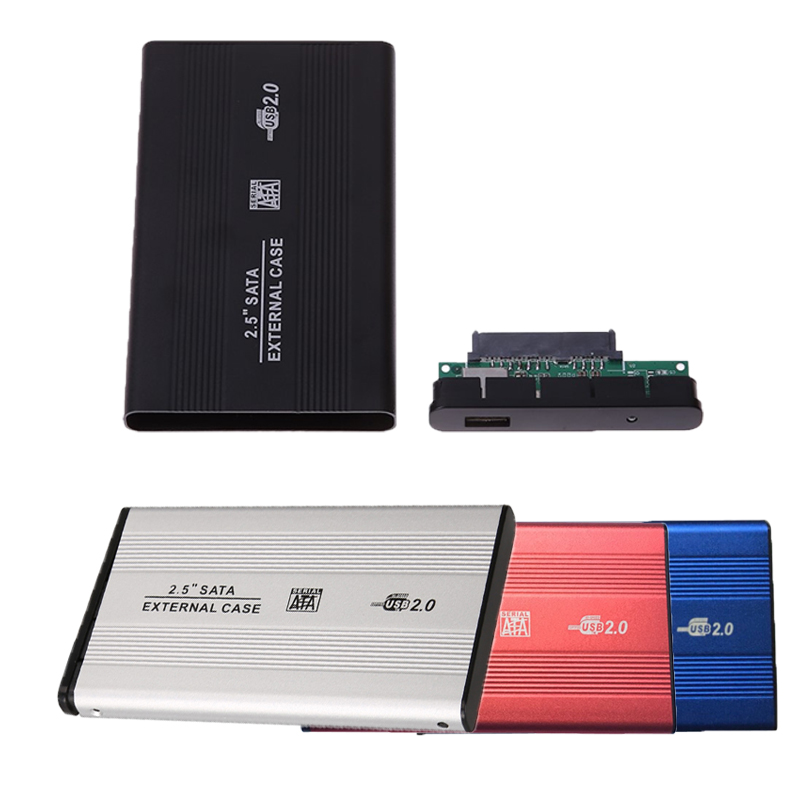 2.5 Inch USB 2.0 Hard Disk Drive Case 480mbps Support 3TB Aluminum Alloy External HDD Enclosure Box For 2.5