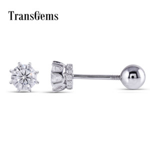Image 1 - Transgems 14K 585 White Gold  0.5CTW 4mm F Colorless Moissanite Stud Earring with Accents Ball Screw Back for Women Fine Jewelry