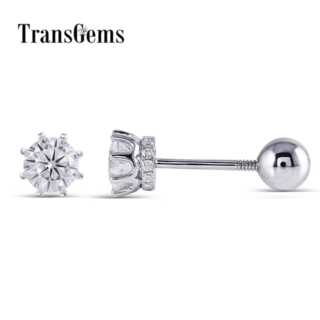Transgems 14K 585 White Gold  0.5CTW 4mm F Colorless Moissanite Stud Earring with Accents Ball Screw Back for Women Fine Jewelry