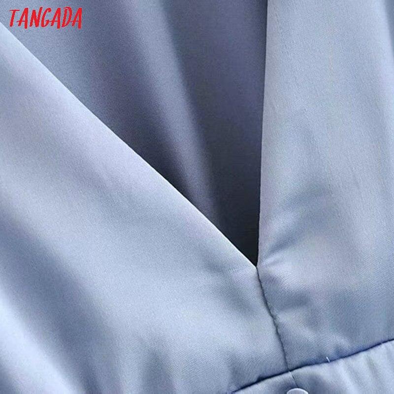 Tangada, женские синие рубашки с рюшами, с длинным рукавом, с v-образным вырезом, на молнии сбоку, на пуговицах, элегантные женские повседневные б...