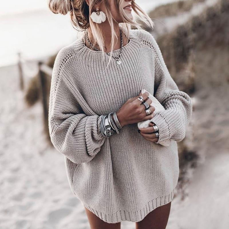 US $14.85 40% OFF|2020 Fall Winter Fashion Oversized Sweaters Women Plus Size Warm Loose Pullovers Ladies Solid O neck Long Sleeve Knitted