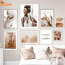 Flower Forest Feather Girl Desert Nordic Posters And Prints Wall Art Canvas Painting Print Wall Pictures For Living Room Decor(China)