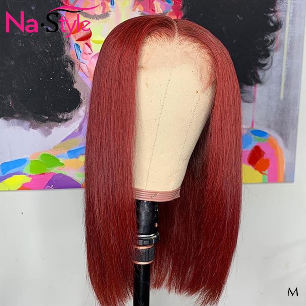 99j 13x6 Lace Front Human Hair Wigs Black Women Burgundy Pixie Cut Wig Pre Plucked Bleached Knots Straigt Lace Frontal 130 Remy