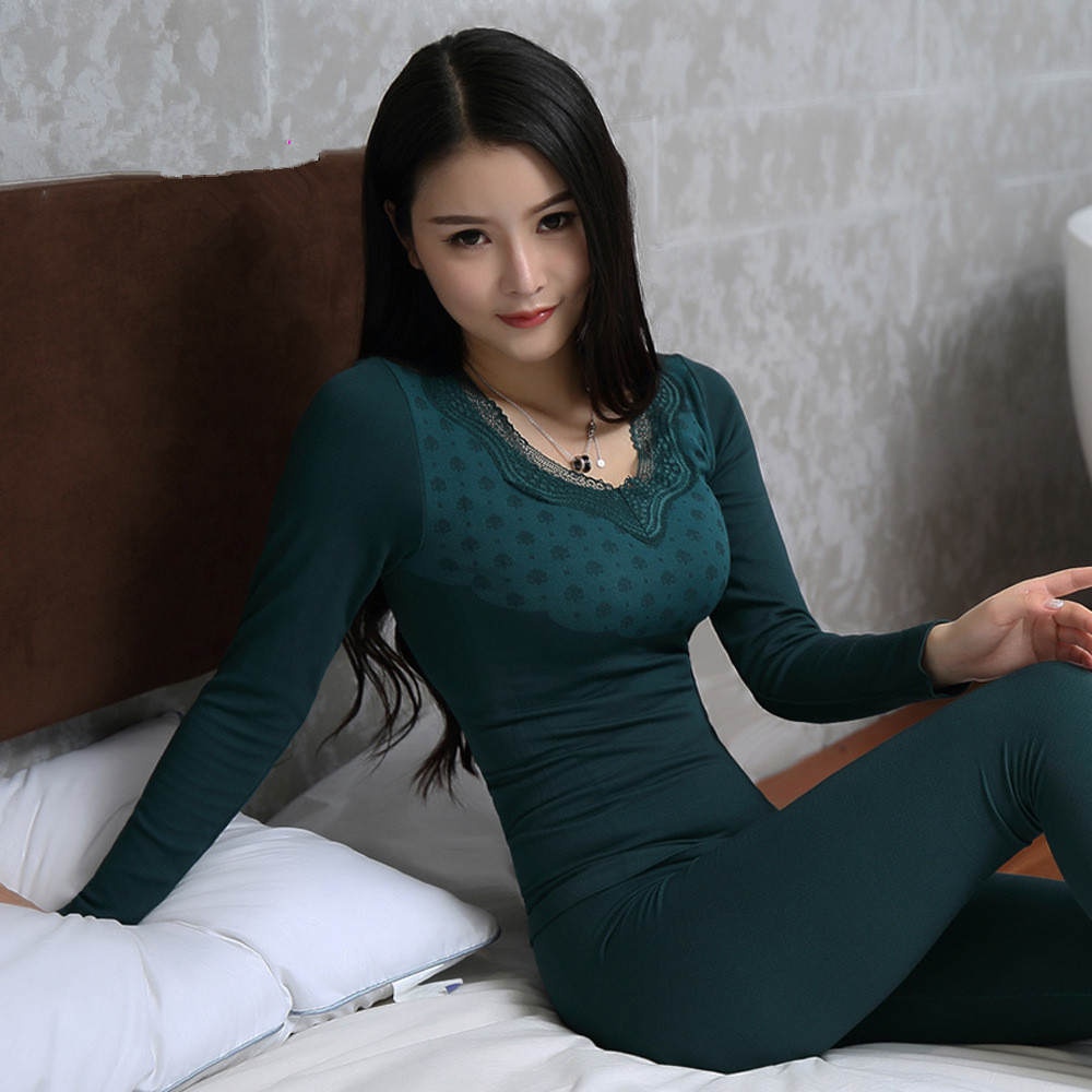 2020 New Autumn Winter Seamless Second Thermal Female Skin Lace V-neck Slim Body Thermal Underwear  For Women Modal Long Johns