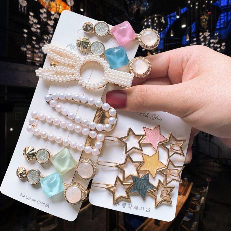 3PCS/Set Pearls Acetate Hair Clips For Women Fashion Girl Hairpins New Geometric Barrettes Hair Accessories