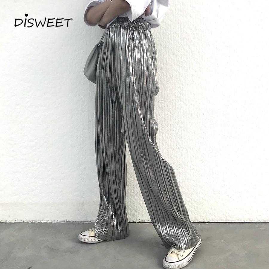 Fashion Bronzing Silver Pants Women  Harajuku Stretch Summer Wide Leg Pants 2019 Streetwear High Waist Pleated Trousers Female